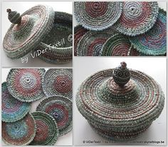 the coasters and the basket with lid are done in rope-crochet = crochet stitches made round rope.