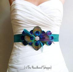 Peacock Wedding Sash Peacock Belt by the Headband Shoppe, Turquoise, Teal, Blue and Purple Feather Sash