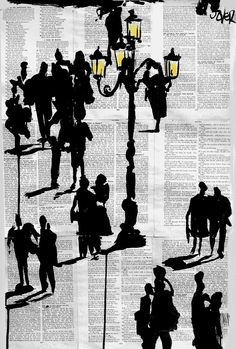 """Saatchi Online Artist: Loui Jover; Pen and Ink Drawing """"people and lamp"""""""