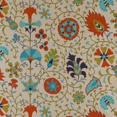 """Calypso Tango Danish Linen Drapery Fabric; from Fashion Fabrics Club.  54 inches wide, 25"""" vertical repeat. $22.95; dry cleaning recommended."""