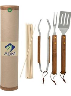 Eco BBQ Set • Eco-friendly sets come complete with utensils made with FDA compliant materials • Constructed of Stainless Steel and Bamboo • All neatly packaged in a 100% recycled cardboard cylinder with recycled paper stuffing • Includes fork, spatula, tongs and 20 wooden skewers • Package suitable for mailing