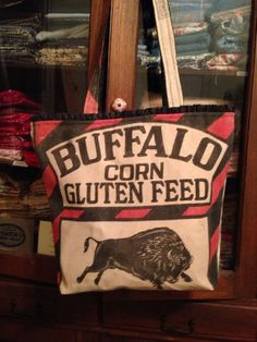 vintage BUFFALO corn gluten feed sack Tote  Gussied Up by ginnymae, $65.00