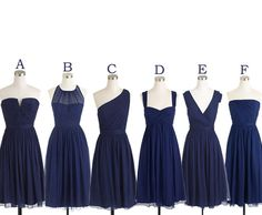 Short Bridesmaid Dresses Navy Blue Bridesmaid Dress Mismatch Maid of Honor Dress Girls Group Dress in Knee Length
