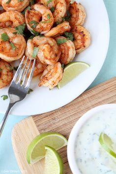 Spicy Cilantro Shrimp with Honey Lime Dipping Sauce - a flavorful, healthy meal you can have ready in under 10 minutes! You'll love the comb...