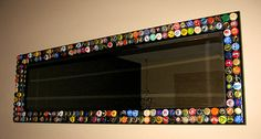 Mirror decorated with beer caps