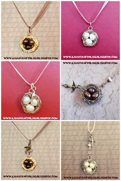 Tutorial to make these bird nest necklaces