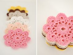 DIY crochet flowers. Lovely colors.