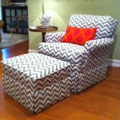 Reupholstered chair in Chevron Fabric