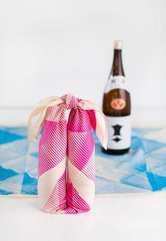 wrapping Japanese Sake bottle with furoshiki (Japanese wrapping cloth)