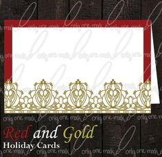 Holiday Card Red and Gold by OnlyOneMarkINC on Etsy, $40.00