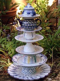 garden whimsy, centerpiec, garden art, alice in wonderland, gardens, whimsical garden, garden totems, teacup, parti