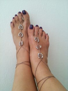 Brown   Barefoot Sandals with silvery   bead by ArtofAccessory, $15.00