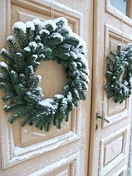 Christmas wreths on antique doors