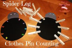 spider leg clothes pin counting and number matching - great for preschoolers! #prek #education (repinned by Super Simple Songs)