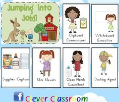 Jumping into Jobs Posters - 75 pages (70 job posters, worksheet, promise sheet and signs) .  This set of job cards have been designed with one job to each page. This way, you can choose the posters you want & using your printer settings, print 4 to a page to make cards e.g. you may choose to print pages1, 2, 3, 4, 6, 7, 8, 9, 11, 12, 14, 17 and so on.   Display the 'I am Responsible – My promise' poster in your classroom. Includes individual promise sheet (half page) & job description worksheet.