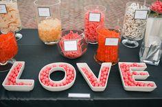 Candy bar in peach, coral & white