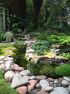 river rocks, dip, water gardens, yard, water features, little gardens, stone, fish ponds, curves