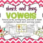 Short and Long Vowels. 50 picture cards with vowels in the beginning and middle of words. Several sorting mats to focus on different skills. 13 worksheets included for extra practice.
