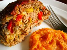 Veggie-Stuffed Meatloaf with Balsamic Mashed Yams by Food and Whine