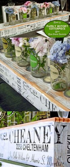 Make a photo transfer centerpiece for a family gathering.