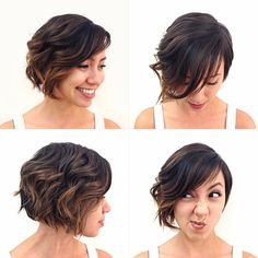 All around view balayage ombre short asymmetrical hair
