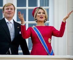 King Willem Alexander and Queen Máxima on the balcony of Palace Noordeinde, Prinsjesdagsdag 16 september 2014