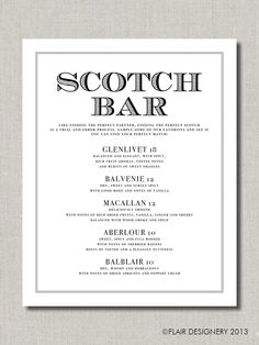 Scotch Bar  Printable Wedding Poster Bar Sign by FlairDesigneryLLC, $9.00