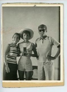 A Jackie Kennedy Onassis mirror selfie with Jack and his sister-in-law Ethel, taken in 1954.