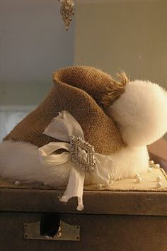 decor, holiday, hats, craft, idea, winter, burlap santa hat, diy, christma
