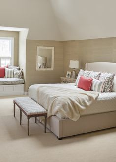 #bench, #coral, #bedroom, #bedding, #paint-color, #beige, #neutral, #mirror, #bed, #walls, #window-seat  Photography: Courtney Apple - courtneyapple.com  Read More: http://www.stylemepretty.com/living/2014/04/22/chestnut-hill-project/