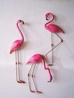 Pink flamingo art wall decor. $24.00, via Etsy.