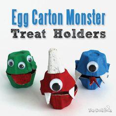 Egg Carton Monster Treat Holders monster treat, craft with egg carton, idea, eggs, the craft, egg cartons, carton monster, little monsters, kid crafts