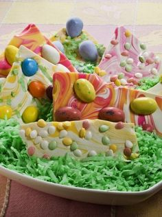 Recipe for Easter Bark. This colorful bark is easy to make, fun to do with the kids, and a good way to use up that surplus Easter candy.