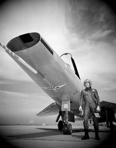 F-100 Super Sabre. Note the NACA sign underneath the fuselage. National Advisory Committee for Aeronautics, later became NASA.