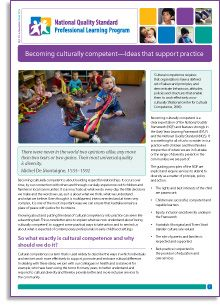 'Becoming culturally competent—Ideas that support practice' is our e-Newsletter No.65 and is out now! Download it here: http://bit.ly/1id5TjK  In this edition, Catharine Hydon demystifies 'cultural competence' and offers practical, everyday steps to becoming more 'competent'.  Catharine suggests that we start by understanding our own cultural identity and connecting to our local families and communities and the values and traditions that matter to them.