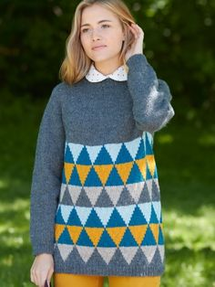 Diamonds in the Round Pullover #geometric #knit