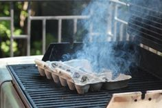 Burn an egg carton or cardboard coffee cup holder to keep mosquitoes away - just as effective as Citronella and FREE!