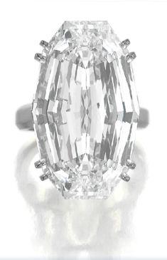Harry Winston oval setp-cut diamond ring: 36.43 carats.