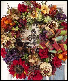 Custom Designed Door Wreath. Decorative Floral Wreaths by Petal Pusher's Wreaths & Designs.