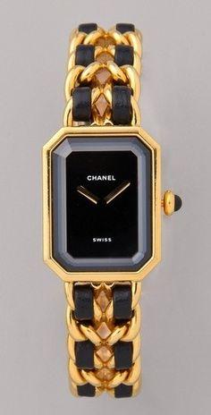 Vintage Black & Gold Chanel Watch