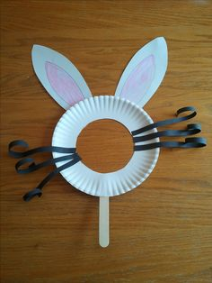 Easter Bunny Mask  --  This is cute!  Other animals could be made using a cut-out paper plate, too
