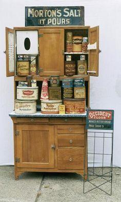 pretty hoosier cabinet vintag, hoosier cabinets, antiqu hoosier, bittersweet primit, cupboard full, old tins, countri