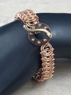 1379AB Twotone Vertebrae Chainmaille Bracelet by AnthelionJewelry, $50.00