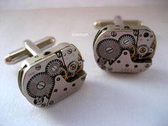 Silver Steampunk Cufflinks by KoollooK on Etsy, $45.90