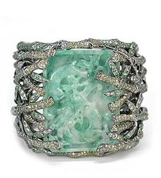 Unbelievable Wendy Yue cuff with carved jade, colored sapphires and diamonds in 18k white gold.