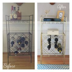 "A little gold spray paint changes everything. ""Martini Bar"" made from an old iron wine rack."