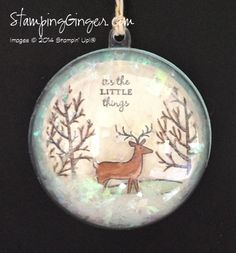 Half round ornament using Stampin' Up!'s White Christmas stamp set in the 2014 Holiday Catalog.