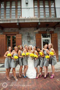 Bridesmaids and Bride #Yellow #gray