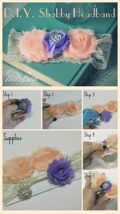 DIY shabby headband. Choose your shabby flowers, a lace headband, and some bling. So easy!
