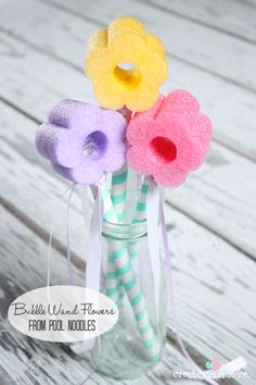 Bubble wand flowers from pool noodles